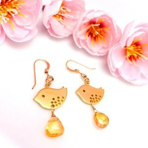 Citrine drop gold love birds dangle earrings